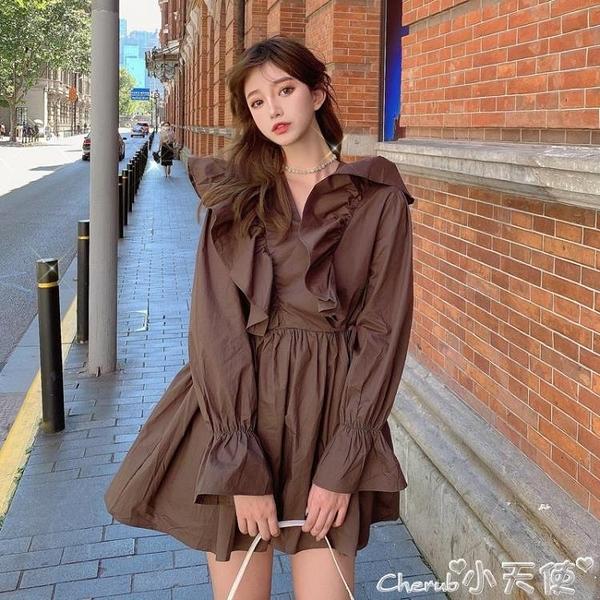 長袖洋裝 長袖連身裙女寬鬆泡泡袖襯衫裙氣質秋裝2021新款復古法式小眾裙子 小天使