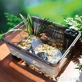 烏龜缸酷爬烏龜缸帶曬臺中小型水陸缸別墅家用草龜巴西龜鱷龜專用養龜缸 艾家 LX