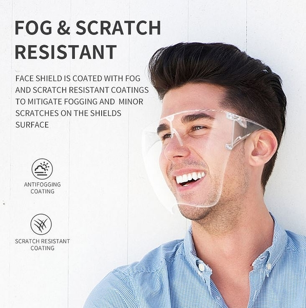 全臉 面罩 防飛沫防唾沫 一體式防疫面罩 護目鏡 防護眼鏡 高清透明 防霧 全臉面罩
