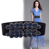 新款時尚腰帶女手工串珠裝飾腰封女毛衣裙子風衣裝飾腰帶寬 8號店