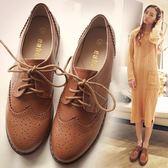 夏季英倫風女鞋布洛克復古小皮鞋女平底學院粗跟學生牛津韓版單鞋 【PINK Q】