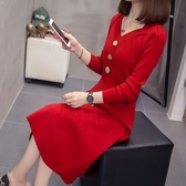 大尺碼洋裝 連身裙 8222#實拍大碼女裝胖MM能穿到200斤時尚修身顯瘦毛衣連身裙秋冬NC21-A 韓依紡