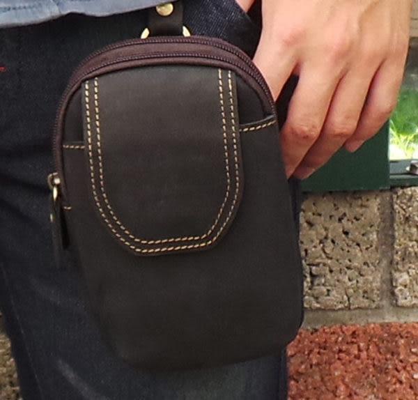 真皮手機腰包-休閒復古瘋馬皮 暗扣拉鍊雙層 手機袋 手機包 掛包 真皮包 皮套 收納包(深藍色偏黑)