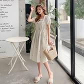 漂亮小媽咪 韓系 實拍 刺繡 洋裝【DB4288】繡花 雛菊 方領 包繡 哺乳裝  泡泡繡 長洋裝