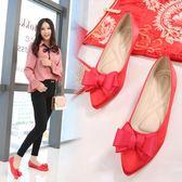 婚鞋女新款紅色尖頭平底新娘結婚婚禮鞋蝴蝶花中式秀禾鞋孕婦    初語生活