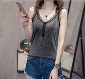 促銷價不退換大尺碼小可愛背心L-4XL/31037夏裝蕾絲花邊V領吊帶女顯瘦性感銀絲無袖打底衫上衣