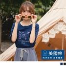《KG1164-》美國棉.小宇宙印花圓領五分袖上衣 OB嚴選