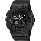 【CASIO】卡西歐 G-SHOCK系列 個性機械感三眼雙顯電子錶 (黑/白 GA100-1A1 )