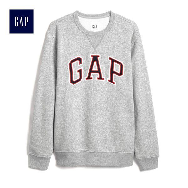 Gap男裝 簡約撞色Logo長袖休閒上衣 488110-麻灰色