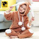 睡衣 兒童睡衣女童長袖加厚法蘭絨潮珊瑚絨套裝童裝冬季女孩保暖家居服