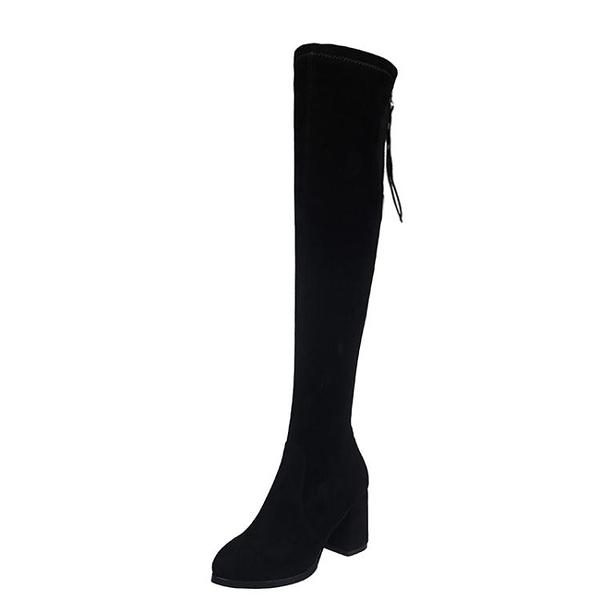 長靴 長靴女粗跟過膝靴瘦腿彈力靴高跟長筒靴子秋冬新款百搭高筒靴 風尚