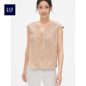 Gap女裝 洋氣無袖V領縮褶襯衫 女士上衣休閒襯衣夏季 467731-粉色印花