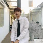領帶白襯衫Les帥中性情侶BF原宿風寬鬆簡約學院風畢業班服白襯衫 晴天時尚館