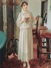 旗袍 中國風現代漢服元素改良連衣裙套裝春秋超仙女古風蕾絲旗袍改良版尾牙-快速出貨