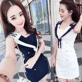 洋裝 夏季新款性感海軍風夜店女裝修身氣質V領露背無袖包臀洋裝  艾美時尚衣櫥