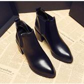 短靴英倫正韓短筒馬丁靴潮高跟粗跟尖頭女短靴裸靴 米蘭潮鞋館