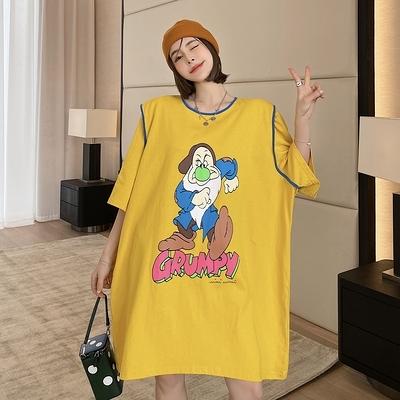 T恤裙洋裝250#春夏新款韓版寬松大碼中長款印花ins超火短袖T恤女潮NC417.胖丫