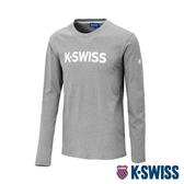 K-SWISS Cotton Logo Tee 2印花長袖T恤-男-淺灰