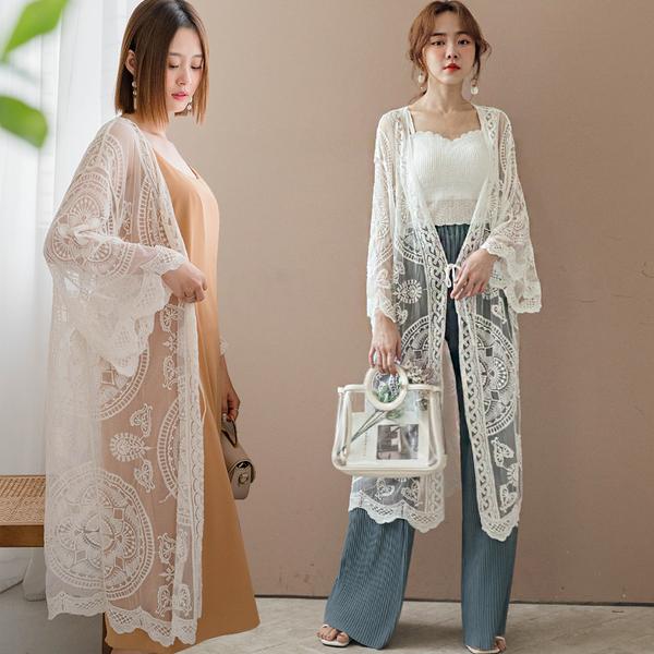 MIUSTAR 仙女級!圓形刺繡蕾絲網紗開襟罩衫(共2色)【NJ1825】預購