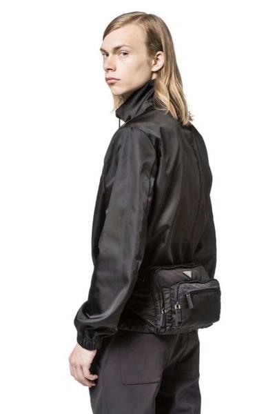 ■專櫃66折■全新真品■Prada Saffiano 中性款/男款皮革飾邊科技尼龍腰包/胸前包