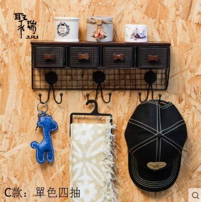 宜家牆上掛衣鉤特價Loft做舊壁掛一字擱板收納架掛鉤置物架    C款單色四抽