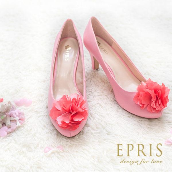 現貨 小中大尺碼內增高推薦 甜蜜女神  韓版花朵真皮羊皮腳墊高跟鞋 22-25.5 EPRIS艾佩絲-甜美粉
