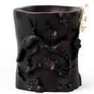 雅軒齋紅木雕刻工藝品 黑檀木質喜鵲登梅鳥筆筒禮盒裝實木禮品