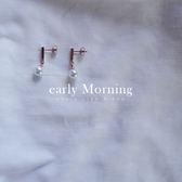 early Morning - 鈦鋼  小方棍 線條 珍珠耳環 鍍18K玫瑰金 防過敏 韓版【IS048】