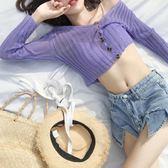 夏薄針織紫色開衫女空調衫外套防曬外搭短款配吊帶裙的小外披罩衫【博雅生活館】