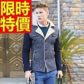 毛呢外套-羊毛特殊剪裁短版防寒男風衣大衣2色62n15【巴黎精品】