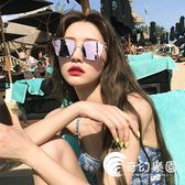 韓版網紅同款女近視復古度假風沙灘金屬太陽眼鏡街拍圓臉方框墨鏡-奇幻樂園