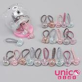UNICO 嬰兒少髮量 爆裂珠光款式米奇小熊星星愛心髮圈罐裝-20入組