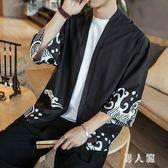 民族風開衫外套中式漢服古風男改良和服男道袍男裝披風 FR3447『男人範』