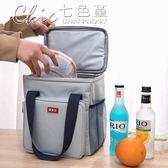 野餐袋 加厚保溫飯盒袋手提包防水大容量保溫包便當包帶飯戶外野餐包「七色堇」