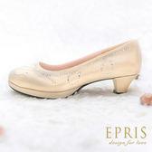 現貨 MIT小中大尺碼婚推薦 冰晶花女神 真皮鞋墊水鑽低跟鞋 21-26 EPRIS艾佩絲-香檳金
