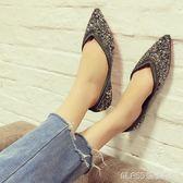 孕婦單鞋女平底鞋防滑水鑽淺口百搭軟底一腳蹬尖頭瓢鞋    琉璃美衣