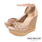 Tino Bellini 巴西進口細緻雷射雕花楔型魚口涼鞋 _ 膚 B83237 歐洲進口款