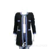 EDWARD ACHOUR PARIS 黑色牛仔滾邊設計長版毛呢外套 1710048-01