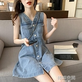 復古V領牛仔洋裝女春夏2020新款韓版小個子收腰顯瘦無袖背心裙 【韓語空間】