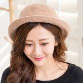 韓版復古百搭羊毛盆帽(卡其)