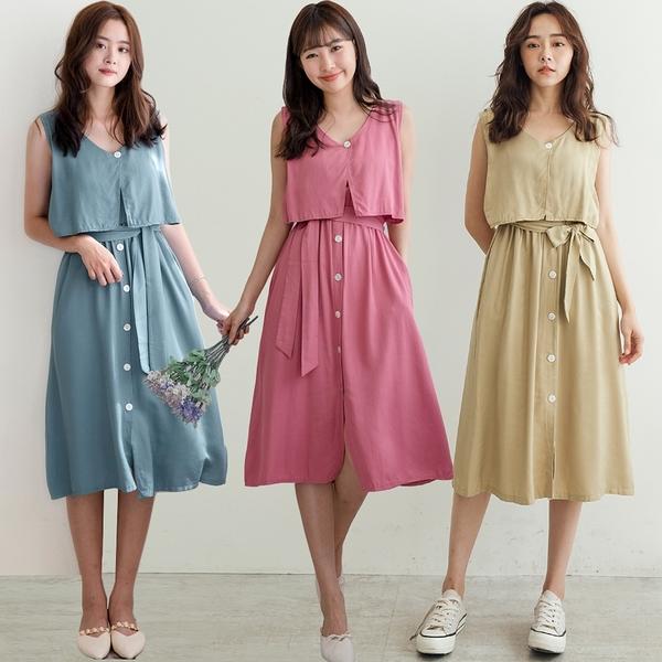 現貨-MIUSTAR 附綁帶接片造型排釦鬆緊洋裝(共5色)【NH1828】