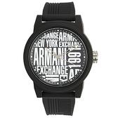 A/X Armani Exchange潮流品味黑白撞色橡膠帶男腕錶47mm(AX1443)271003