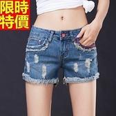 牛仔短褲-時尚毛邊個性磨破丹寧女休閒褲3色69h22【巴黎精品】