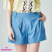 【SHOWCASE】休閒款腰褶顯瘦寬口牛仔短褲(藍)
