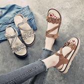 夏季新款百搭厚底松糕鞋韓版學院女鞋學生平底海邊沙灘涼鞋女