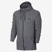 Nike Modern Hoodies 男 灰 黑 刺繡 衛衣 立領 連帽外套 夾克 運動外套 805131091