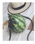 西瓜搞笑水果韓版搞怪新款時尚文藝創意設計單肩斜挎鍊條包潮酷 野外之家