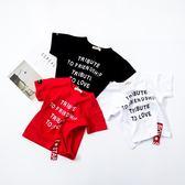 兒童短袖t恤 2018夏季新款男童女童棉質字母寬鬆體恤紅色白色黑色 萬聖節