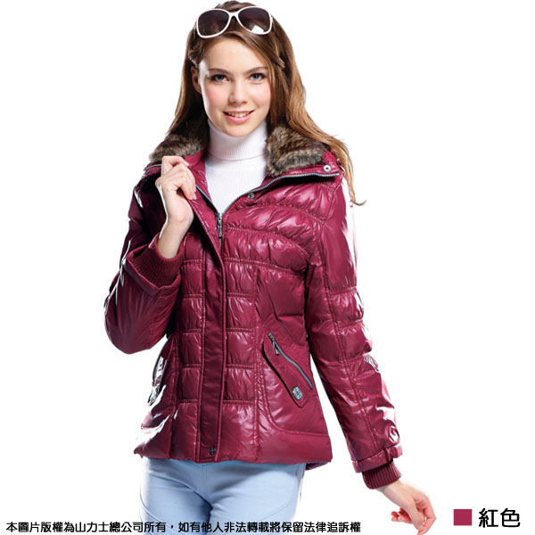 【SAMLIX 山力士】女 亮面新潮羽絨外套(#393紅色.紫色.黑色)