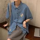 港風短袖襯衫女復古港味設計感鹽系襯衣2021新款夏季學生百搭上衣